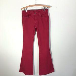 J Brand Cherry Red Flare Bell Bottom Jeans